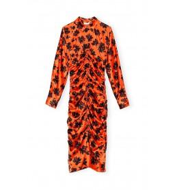 Ganni Silk Stretch Satin Kleid